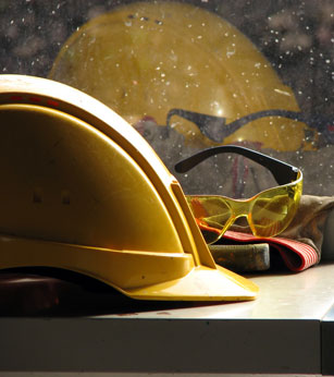 Image of hard hat and glasses